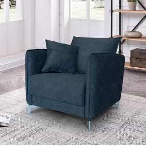 כורסא מעוצבת מרופדת בד קטיפתי רחיץ דגם קיטו – שחור