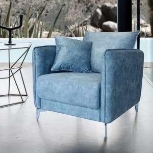 כורסא מעוצבת מרופדת בד קטיפתי רחיץ דגם קיטו – תכלת