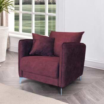 כורסא מעוצבת מרופדת בד קטיפתי רחיץ דגם קיטו – בורדו