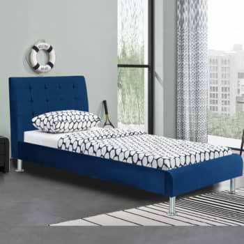 מיטת יחיד מעוצבת 90×190 בריפוד בד קטיפתי דגם לוטם