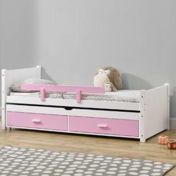 מיטת ילדים מעץ מלא עם מיטת חבר נשלפת מסדרת VERY WOOD דגם שני