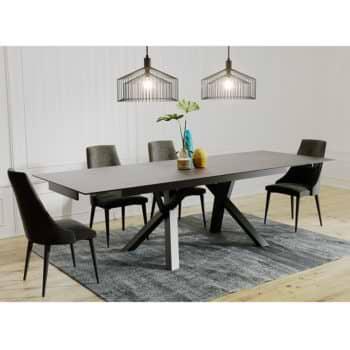 פינת אוכל עם שולחן קרמיקה נפתח ל- 2.6 מ' ו-6 כסאות דגם ברצלונה-ליאן