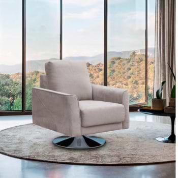 כורסא מעוצבת מרופדת בד רחיץ עם רגל מסתובבת דגם בריטני