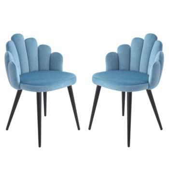 זוג כיסאות צדפה מעוצבים עם בד קטיפה ורגלי מתכת דגם דייזי – תכלת