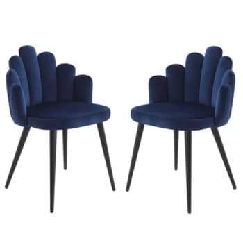 זוג כיסאות צדפה מעוצבים עם בד קטיפה ורגלי מתכת דגם דייזי – כחול