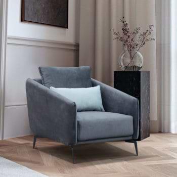 כורסא מעוצבת מרופדת בד רחיץ עם רגלי מתכת דגם קלואי