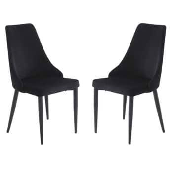 זוג כסאות מרופדים לפינת אוכל דגם ליאן-שחור – משלוח חינם!