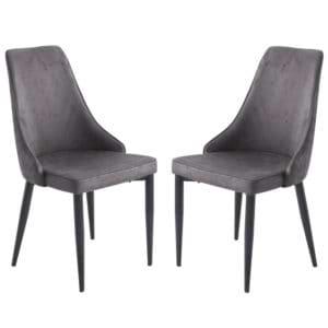 זוג כסאות מרופדים לפינת אוכל דגם ליאן-אפור – משלוח חינם!