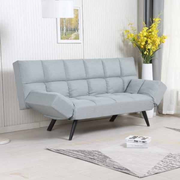 ספה מעוצבת מרופדת בד רחיץ ונפתחת למיטה רחבה דגם לידור