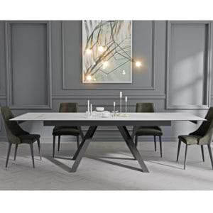 פינת אוכל עם שולחן קרמיקה נפתח ל- 2.6 מ' ו-6 כסאות דגם מדריד-ליאן