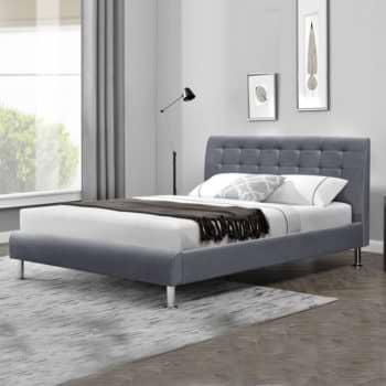 מיטה זוגית מעוצבת 140×190 בריפוד בד קטיפתי דגם מיקה