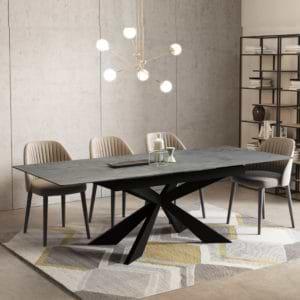 שולחן אוכל קרמיקה מפואר מידה 1.8 מ' נפתח ל- 2.4 מ' עם רגל מתכת דגם פלמה