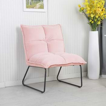זוג כורסאות המתנה מעוצבות עם רגלי מתכת דגם פולו – ורוד