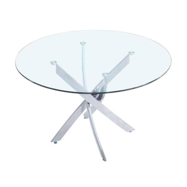 """שולחן אוכל זכוכית עגול 120 ס""""מ עם רגלי כרום דגם ונציה"""