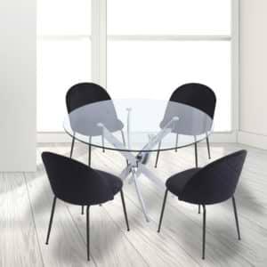 """פינת אוכל עגולה 120 ס""""מ עם 4 כסאות מרופדים דגם ונציה-תובל"""