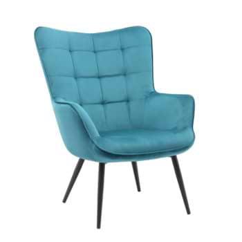 כורסא מלכותית מעוצבת עם רגלי מתכת וריפוד קטיפתי דגם בוסטון – כחול