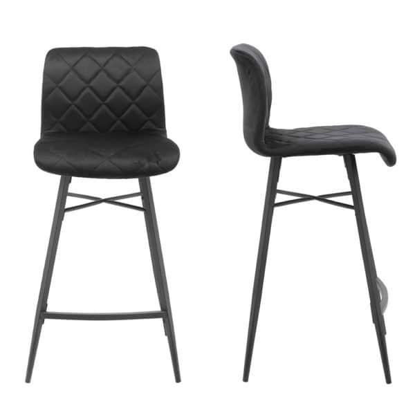 זוג כסאות בר בריפוד בד קטיפתי עם רגלי מתכת דגם מנהטן – משלוח חינם!