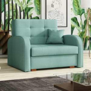 כורסא אירופאית נפתחת למיטה עם ארגז מצעים דגם מונו-ירוק