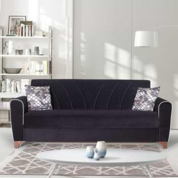 ספה תלת מושבית נפתחת למיטה רחבה עם ארגז מצעים דגם בריזה – שחור