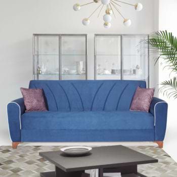 ספה תלת מושבית נפתחת למיטה רחבה עם ארגז מצעים דגם בריזה – כחול