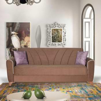 ספה תלת מושבית נפתחת למיטה רחבה עם ארגז מצעים דגם בריזה – קפוצינו