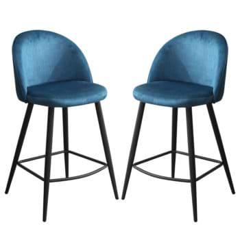 זוג כסאות בר מרופדים בד קטיפתי עם רגלי מתכת דגם קפרי – משלוח חינם!
