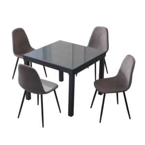 פינת אוכל נפתחת ל-1.8 מ' עם 4 כסאות מרופדים דגם אורלנדו-כרמל