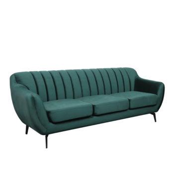 ספה תלת מושבית מעוצבת עם קפיצים מבודדים ובד קטיפה דגם פורטו – ירוק