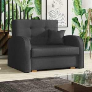 כורסא אירופאית נפתחת למיטה עם ארגז מצעים דגם מונו-אפור