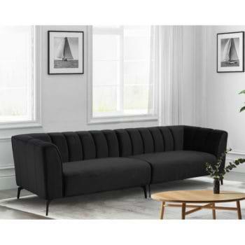 ספה רחבה 3 מ' מעוצבת עם קפיצים מבודדים ובד קטיפתי דגם ורונה – שחור