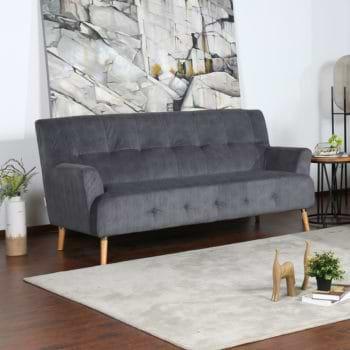 ספה תלת מושבית נוחה בעיצוב רטרו מרופדת בד רחיץ דגם דניאל-תלת