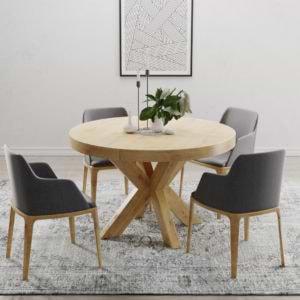 שולחן אוכל אירופאי עגול 1.3 מ' נפתח ל- 2.3 מ' דגם דומו