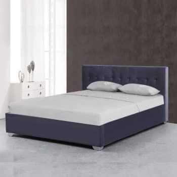 מיטה זוגית מעוצבת 160×200 בריפוד בד קטיפתי עם ארגז מצעים מעץ דגם אמילי 160