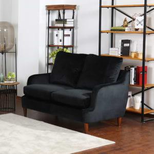 ספה דו מושבית נוחה בעיצוב קלאסי מרופדת בד קטיפתי דגם מסינה-דו