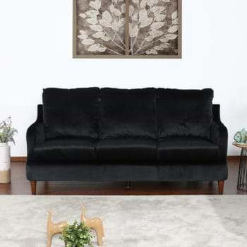 ספה תלת מושבית נוחה בעיצוב קלאסי מרופדת בד קטיפתי דגם מסינה-תלת