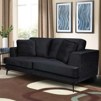 ספה דו מושבית מרופדת בד קטיפתי דגם אלפא-שחור