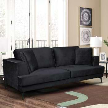 ספה תלת מושבית מרופדת בד קטיפתי דגם אלפא-שחור