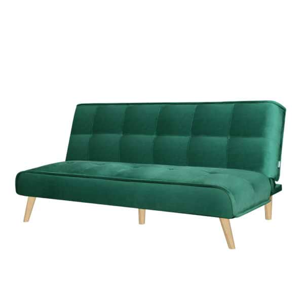 ספה נפתחת למיטה רחבה מרופדת בד קטיפה דגם לאון - אפור