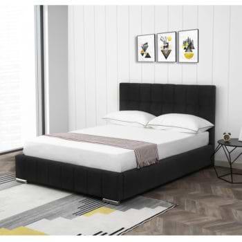 מיטה זוגית 140×190 מעוצבת ומרופדת בד קטיפתי דגם מוניק – שחור