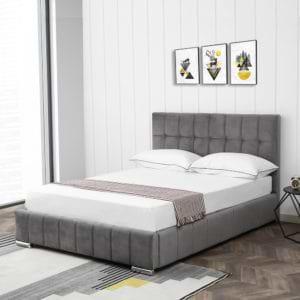 מיטה רחבה לנוער 120×190 מעוצבת ומרופדת בד קטיפתי דגם מוניק – אפור