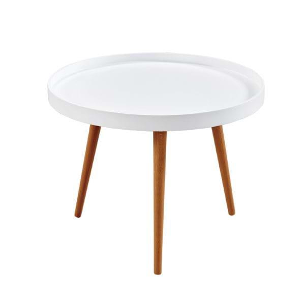 שולחן קפה עגול עם רגלי עץ מלא דגם נטו