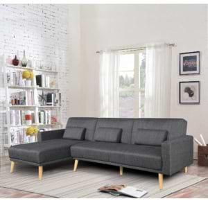 מערכת ישיבה פינתית מבד נפתחת למיטה זוגית דגם נופר – שחור