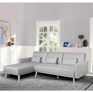 מערכת ישיבה פינתית מבד נפתחת למיטה זוגית דגם נופר – אפור