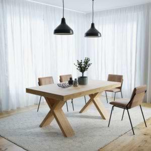 שולחן אוכל אירופאי מלבני עם רגלי איקס נפתח ל-2.8 מ' דגם טוקיו