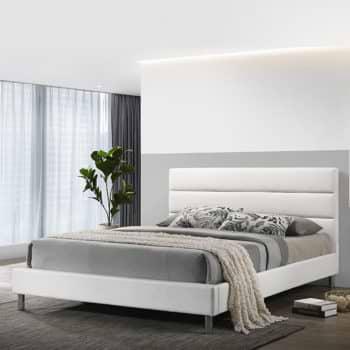 מיטת זוגית מעוצבת 160×200 בריפוד דמוי עור לבן-שמנת דגם דניס 160