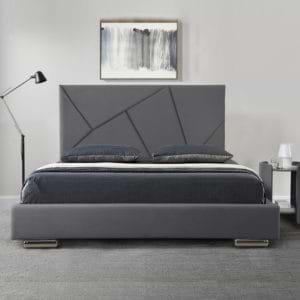מיטה זוגית מעוצבת 140×190 בריפוד בד קטיפתי דגם קייטי 140