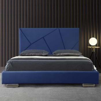 מיטת נוער רחבה ומעוצבת בריפוד בד קטיפתי דגם קייטי 120