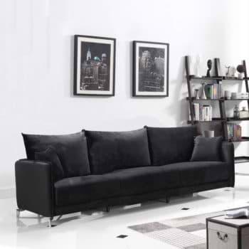 ספה רחבה 2.4 מ בעיצוב מודרני מרופדת בד קטיפתי דגם מקיטה