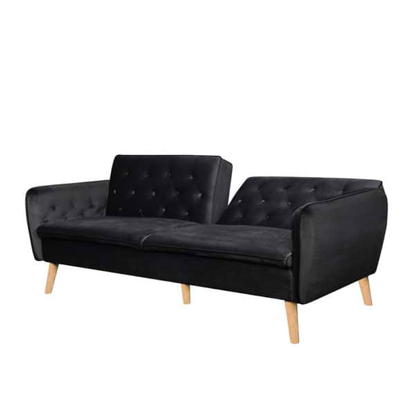ספה תלת מושבית נפתחת למיטה רחבה מרופדת בד קטיפה דגם תמר-אפור