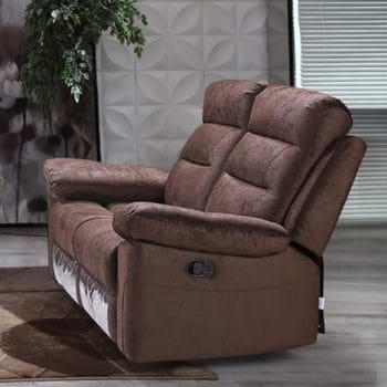 ספה דו מושבית מרופדת בד רחיץ עם 2 הדומים נשלפים דגם ולנסיה – חום